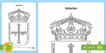 Hoja de colorear: El escudo de Asturias - Mapas, provinicias, mapas mudos, mapas en blanco, las ciudades de españa, comarcas, concejos, comun