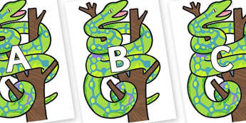 A-Z Alphabet on Boa Constrictor to Support Teaching on The Bad Tempered Ladybird - A-Z, A4, display, Alphabet frieze, Display letters, Letter posters, A-Z letters, Alphabet flashcards