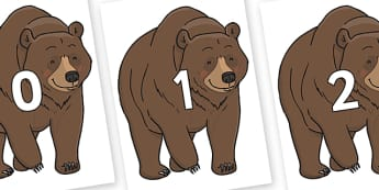 Numbers 0-50 on Bear - 0-50, foundation stage numeracy, Number recognition, Number flashcards, counting, number frieze, Display numbers, number posters