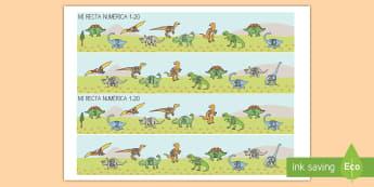 Rectas numéricas: Los dinosaurios de 1-20 Recta numérica - Dinosaurios, pre-historia, dinos, tiranosaurio, estegosaurio, triceratops, proyectos, aprendizaje ba