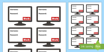 Hwb Password Login Details Display Cut-Outs - Digital Competence Framework, Planning, Year 3, Year 4, Year 5, Year 6, Wales, ICT, ICT in Key Stage