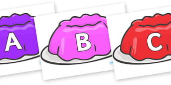 A-Z Alphabet on Jelly - A-Z, A4, display, Alphabet frieze, Display letters, Letter posters, A-Z letters, Alphabet flashcards
