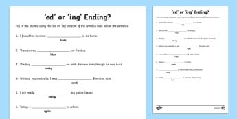 Ed or Ing Ending Worksheet - ed and ing, ed or ing, suffixes worksheet, suffixes, ed and ing suffixes, fill in the blanks suffix worksheet, ed, ing, ks2
