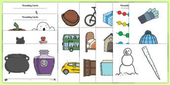 Threading Cut-Outs Resource Pack - threading, cut outs, thread, pack, winter, nature, spring, resource pack, cards, fine motor skills,
