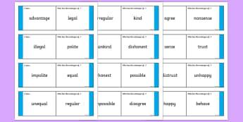 Antonyms with Prefixes Loop Cards - prefixes, antonyms, antonym loop cards, prefix loop cards, ks2 loop cards, ks2 literacy, prefixes and antonyms