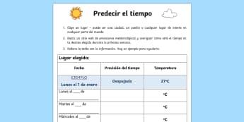 Predecir el tiempo Ficha de actividad - tiempo, previsiones meteorológicas, tabla, buscar información, temperatura,Spanish