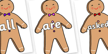 Tricky Words on Gingerbread Man - Tricky words, DfES Letters and Sounds, Letters and sounds, display, words