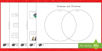 Kwanzaa and Christmas Compare and Contrast Activity Sheets - Kwanzaa, festivals, usa festivals, grade 5, worksheets
