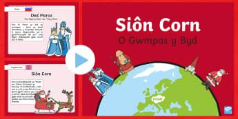 Siôn Corn o Gwmpas y Byd Pŵerbwynt-Welsh - nadolig o gwmpas y byd, nadolig, sion corn, santa, dathlu, rhagfyr,Welsh - nadolig o gwmpas y byd, nadolig, sion corn, santa, dathlu, rhagfyr,Welsh