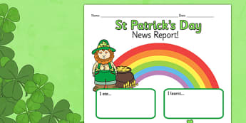 St Patrick's Day Event Writing Report - st patrick, writing frame