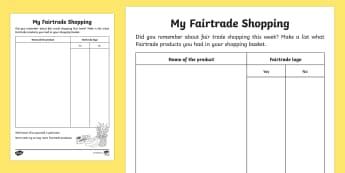 Fair Trade Activity Sheet - NI, Fairtrade Fortnight, 27/02/2017, fairtrade, fair trade, shopping, food shop, weekly shop, grocer