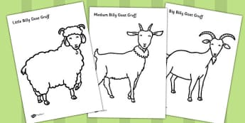 The Three Billy Goats Gruff Colouring Sheets - colouring, goats