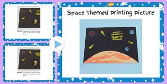 Space Themed Printing Picture Craft Instructions PowerPoint -