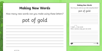Making New Words- Pot of Gold Writing Activity Sheet - ROI - St. Patrick's Day Resources, spelling, writing , first class, second class, 1st class, 2nd cl