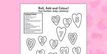 Valentines Day Colour And Roll Worksheet Polish Translation - polish, valentines day, colour