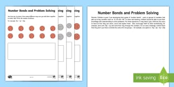 Year 2 Maths Number Bonds and Problem Solving Go Respond Activity Sheet - year 2, maths, homework, number bonds, problem solving, money, Worksheet, problem solving, 50p, £1,