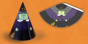 Halloween Cone Characters Witch - craft, halloween, cone, witch