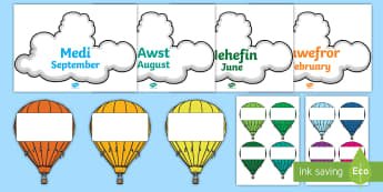 Months of the Year on Hot Air Balloons English/Welsh - months of the year, hot air balloons, bilingual welsh resources, welsh, display, welsh display,Welsh