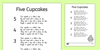 Five Cupcakes Nursery Rhyme Sheet - nz, new zealand, five cupcakes, nursery rhyme