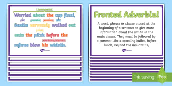 Fronted Adverbials KS2: Features of Sentences Display Posters - what is a fronted adverbial?, fronted adverbial, adverbials, ISPACE, openers, commas, fronted, subor