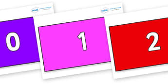 Numbers 0-100 on Rectangles - 0-100, foundation stage numeracy, Number recognition, Number flashcards, counting, number frieze, Display numbers, number posters