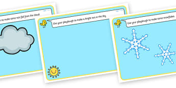 Weather Playdough Mats - weather, fine motor skills, playdough