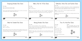 Math Computation Dice Games - usa, america, Dice, Games, Math, US Resources