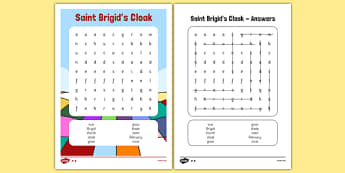 Saint Brigid's Cloak Word Search - saint brigid, irish history, ireland, saint, patron, wordsearch