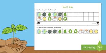 Earth Day ABC Pattern Activity Sheet - Earth Day, ABC patterns, extending patterns, recognizing patterns, patterning,worksheet,  Pre-K patt