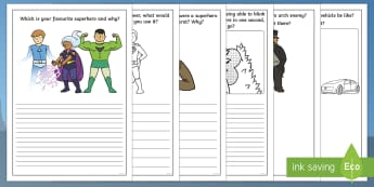 Superhero-Themed Prompt Questions Creative Writing Frames - superhero, superheroes, fantasy, creative writing, writing, reluctant writers, ideas, writing aids,