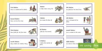 Stations of the Cross Word Cards - Lent, Easter, Stations of the Cross, religion,Irish