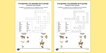 Crucigrama: Los animales de la granja Farm Animals in Spanish Crossword - spanish, Farm, animals, granja, animales, crossword, worksheet