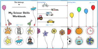 Scissor Cutting Skills Workbook - Scissor skills, cutting, cutting worksheet, using scissors, cutting skills, fine motor skills