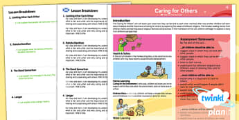 PlanIt - RE Year 1 - Caring For Others Planning Overview CfE - CfE, PlanIt, Good Samaritan, Raksha Bandhan, Langar, The Monkey King