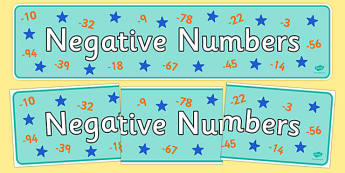 Negative Numbers Display Banner - negative numbers, display banner, display, banner