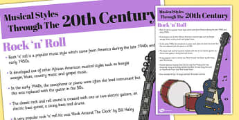 Musical Styles Through the 20th Century: Rock and Roll Information Poster