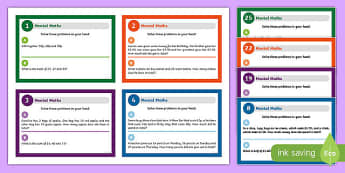 Mental Maths Challenge Cards - mental maths, maths, numeracy