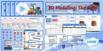 PlanIt - Computing Year 5 - 3D Modelling SketchUp Unit Pack - planit, computing, year 5, 3d modelling, sketchup