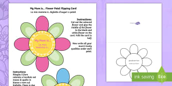 Mother's Day Flap Flower Card Craft English/Italian - Mothers Day Flap Flower Card Craft - mothers, day, flap, flower, card, EAL