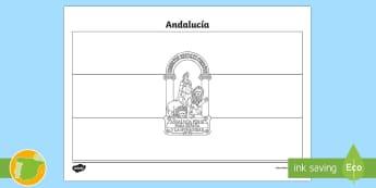 Hoja de colorear: la bandera de Andalucia - Mapas, provinicias, mapas mudos, mapas en blanco, las ciudades de españa, comarcas, concejos, comun