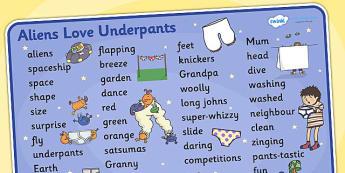 Word Mat Text to Support Teaching on Aliens Love Underpants - aliens love underpants, word mat, word mat text, text mat, themed word mat, key words, keywords, key word mat, mat