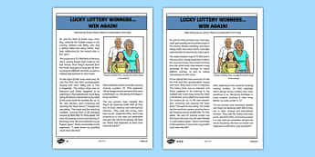 Lottery Win Newspaper Report Writing Sample