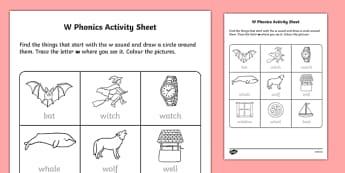 w Phonics Activity Sheet-Irish, worksheet