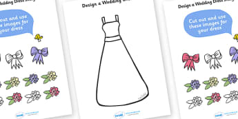 Design a Wedding Dress - Wedding, Weddings, fine motor skills, colouring, designing, activity, marriage, bride, groom, church, priest, vicar, dress, cake, ring, rings, bridesmaid, flowers, bouquet, reception, love