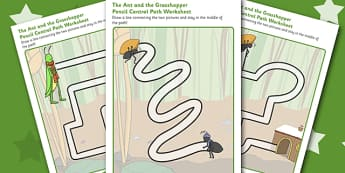 The Ant and the Grasshopper Pencil Control Path Worksheets - Ant