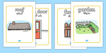 Parts Of A House Display Posters Arabic Translation - arabic, parts, house, display, posters