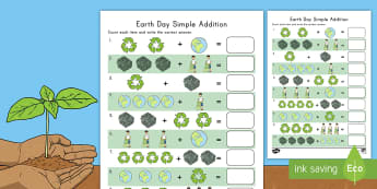 Earth Day Simple Addition Activity Sheet - Earth Day, simple addition, Pre-K adding, Kindergarten adding, addition skills , adding, addition, w