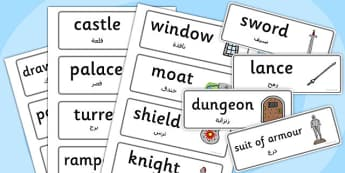 Castles and Knights Topic Word Cards Arabic Translation - arabic