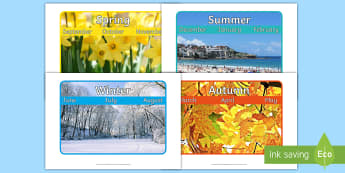 Seasons and Months Display Poster  - seasons and months display poster, summer autumn winter spring, summer, autumn, winter, spring, sout