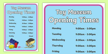 Toy Museum Opening Times Poster - toy museum, toys, play, role play, museum, opening times, poster, display